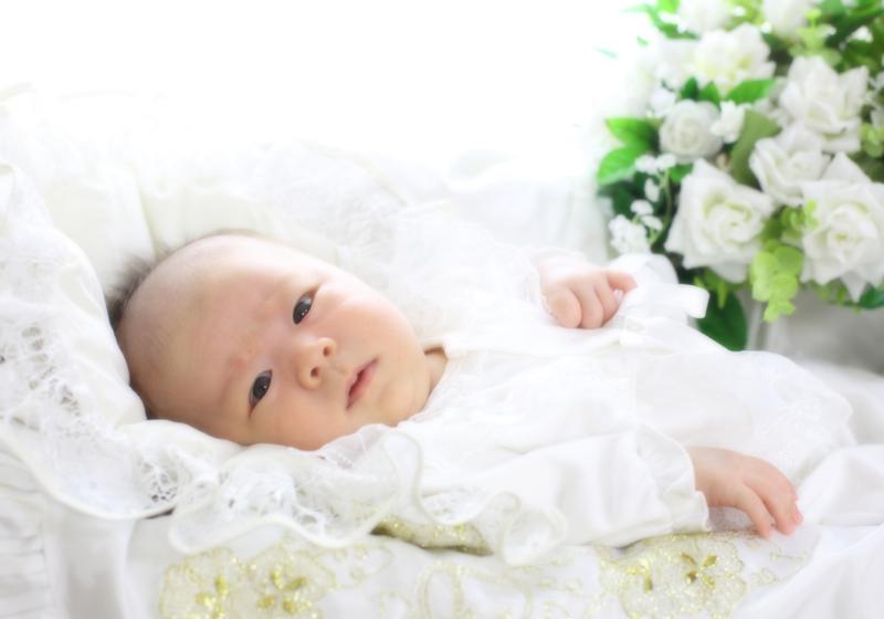 赤ちゃんを泣き止ませるのはドライヤーの音? 初宮お写真